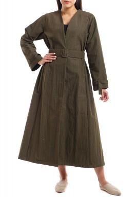 Khaki Long Sleeves Belted Bisht