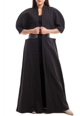 Black PVC Maxi Bisht
