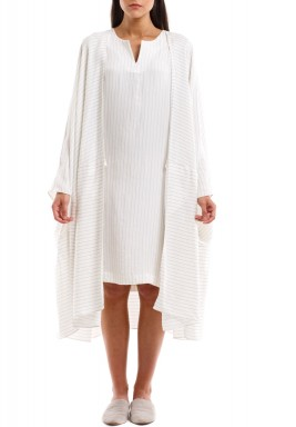 Striped Short Abaya Khaban Set in White