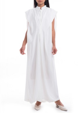 White Plain Sleeveless Cape-Like Dress