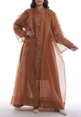 Brown Sheer Organza Hooded Bisht