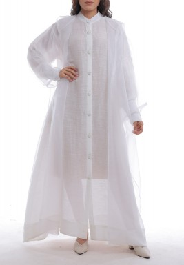 White Sheer Organza Hooded Bisht