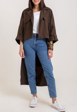 Brown High-Low Length Trench Coat