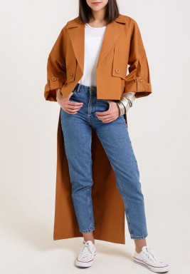 Camel High-Low Length Coat