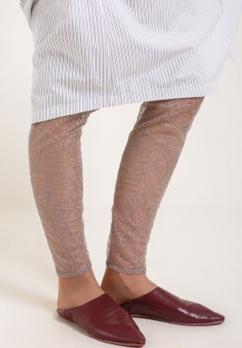 Silver embroidered leggings