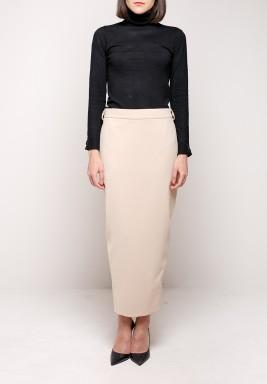 Beige Overlap Skirt