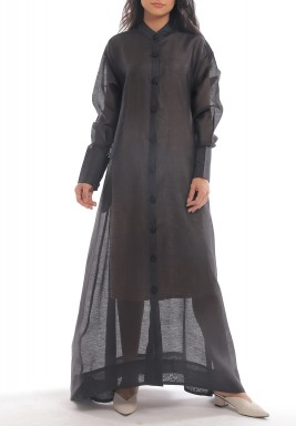 Black Ottoman Button Through Dress