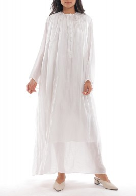 White Rushed Long Sleeves Dress