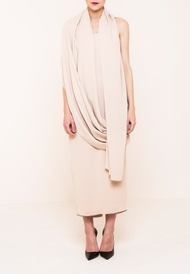 Beige Wrap Dress