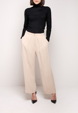 Beige Crepe Wide Legged Pants