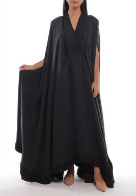 Black Oversized Padded Shoulders Dress