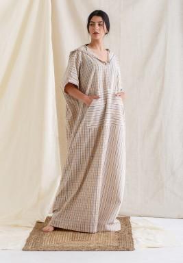 Beige Striped Hooded Maxi Kaftan