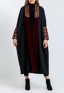 Black & Maroon Embroidered Bisht
