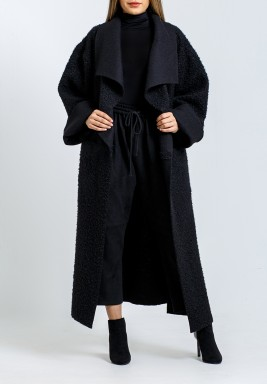 Black Teddy Oversized Collar Jacket