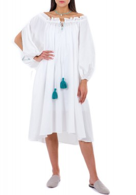 White Cotton Poplin Dress with Green Tassels