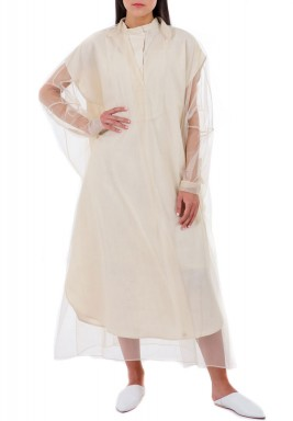 Beige Tulle on Off-White Linen Dress