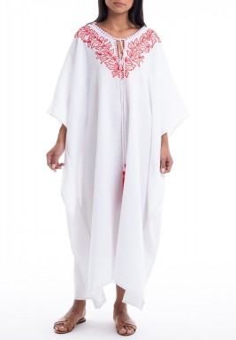 Casablanca White & Red Embroidered Dress