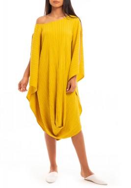 Mustard Striped Off-Shoulder Dress