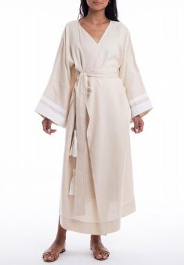 Beige Ocean Wrap Midi Kimono
