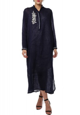 Wrinkle Bisht Navy Blue