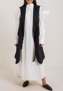 White Dress with Black vest