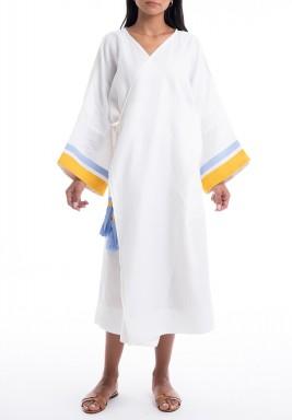 White Ocean Wrap Midi Kimono