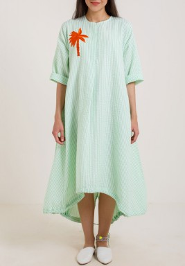 Green Stripes Palm Dress