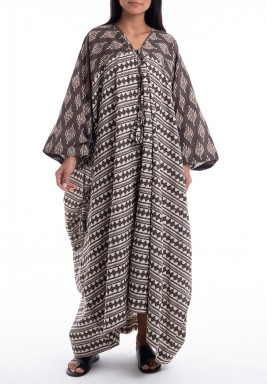 Brown & White Printed Oversized Dress