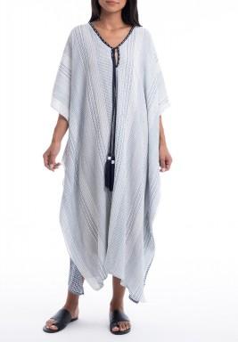 Zanzibar White & Blue Patterned Dress