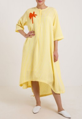 Yellow Stripes Palm Dress