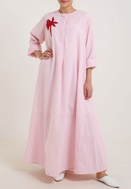 Pink Stripes Palm Dress