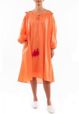 Peach Ruffled Midi Dress