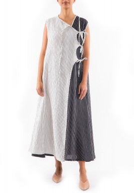 Black & White Striped Midi Dress
