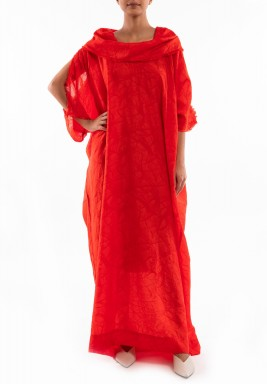 Red Silk Pleated Collar Dress