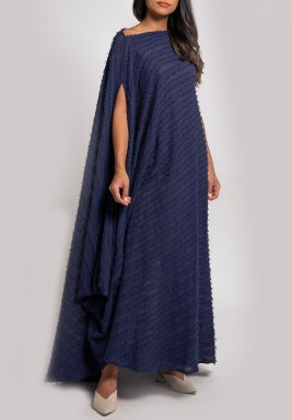 Navy Blue Textured Asymmetrical Dress