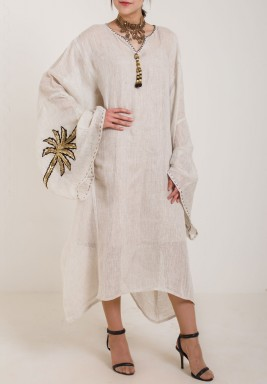 Beige Gold Palm Dress