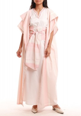 Luxor Pink Striped Dress & Bisht Set