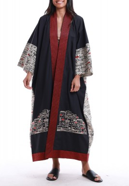 Navy City Print Maxi Bisht