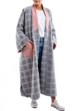 Checkered grey long coat