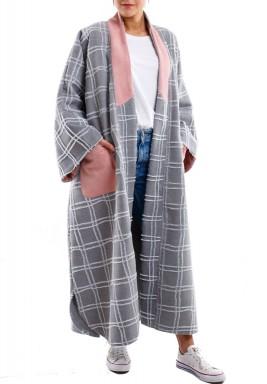 Checkered grey long coat
