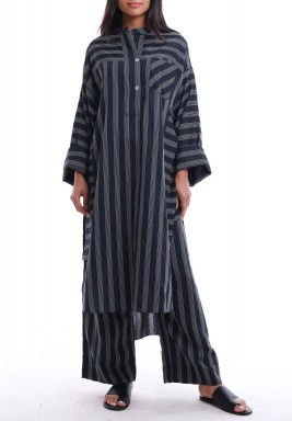Kurta Navy Striped Maxi Set