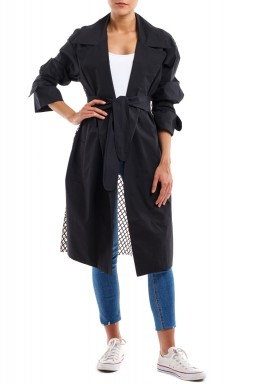 Black Poplin Cotton Net Back Jacket