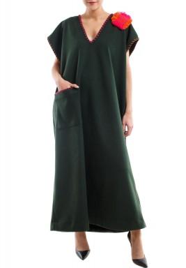 Fuchsia embroidery wool dress