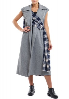 Grey & blue checks long vest