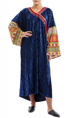 Navy Pleated Tribal Midi Kaftan