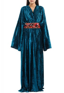 Green Velvet Pleated Kaftan
