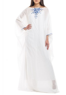 White Off-Shoulders Gazar Silky dress