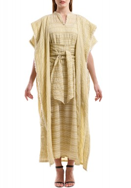 Mustard & White Wide Stripes Bisht Set
