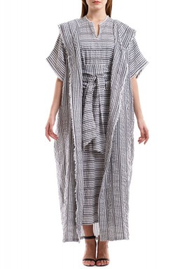 Grey & White Striped Bisht Set