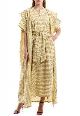 Mustard & White Striped Bisht Set
